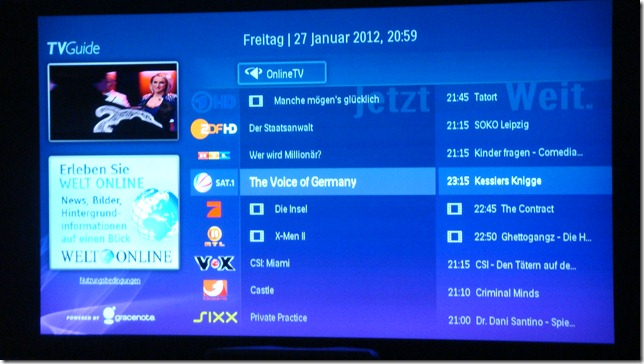 IP-EPG powered by gracenote